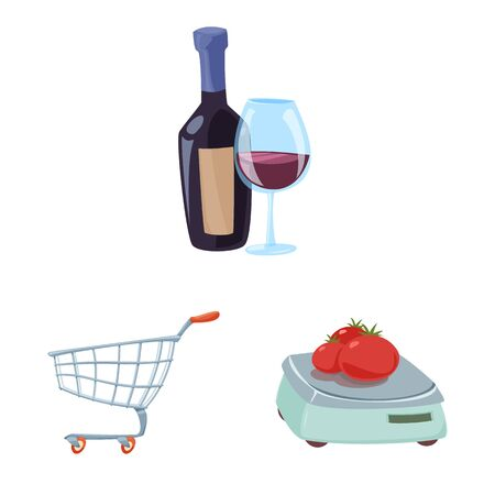 Isolated object of food and drink symbol. Set of food and store stock vector illustration.
