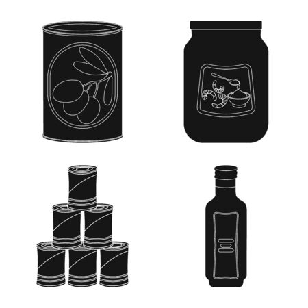 Vector design of can and food sign. Collection of can and package stock symbol for web.