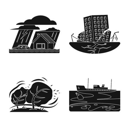 Vector illustration of natural and disaster symbol. Collection of natural and risk vector icon for stock. 向量圖像