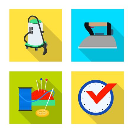 Vector illustration of laundry and clean logo. Set of laundry and clothes stock symbol for web.