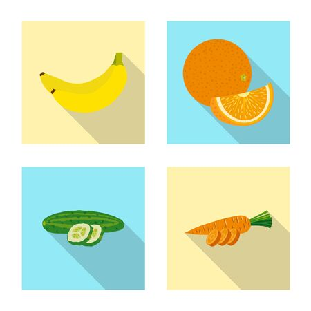 Vector illustration of vegetable and fruit logo. Set of vegetable and vegetarian vector icon for stock.