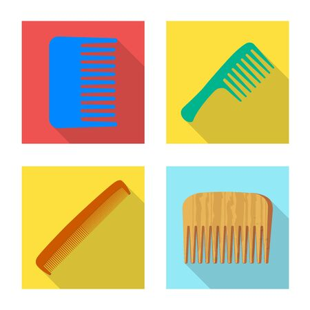 Vector illustration of brush and hair logo. Set of brush and hairbrush vector icon for stock. Çizim