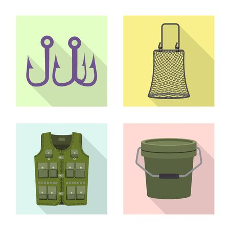 Isolated object of fish and fishing sign. Set of fish and equipment vector icon for stock. Illustration