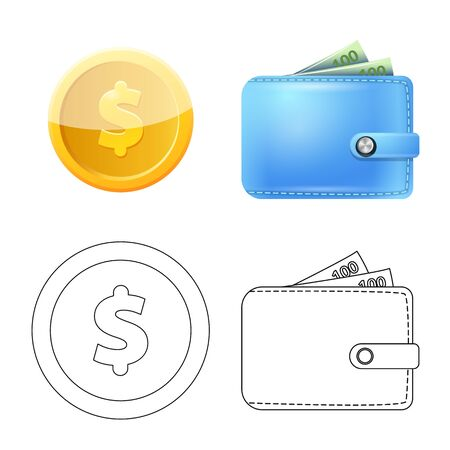Isolated object of bank and money sign. Set of bank and bill stock vector illustration. Illusztráció
