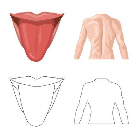 Vector illustration of human and part symbol. Collection of human and woman stock symbol for web. Çizim