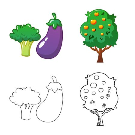 Vector illustration of farm and agriculture sign. Set of farm and plant vector icon for stock.