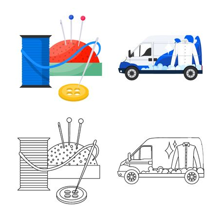 Isolated object of laundry and clean symbol. Collection of laundry and clothes stock vector illustration.  イラスト・ベクター素材