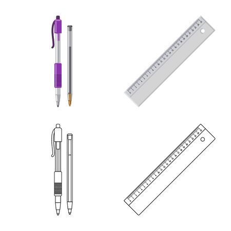 Vector illustration of office and supply symbol. Collection of office and school stock vector illustration.