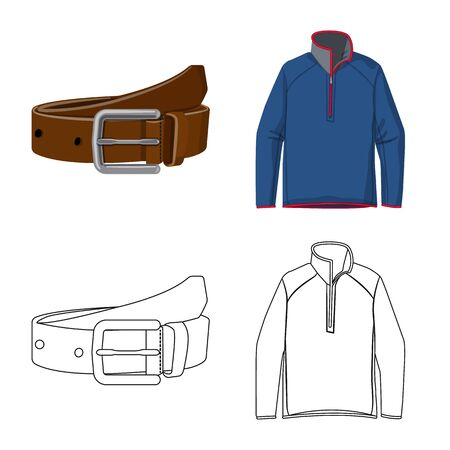 Vector illustration of man and clothing icon. Collection of man and wear stock vector illustration.