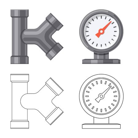 Vector design of pipe and tube icon. Collection of pipe and pipeline vector icon for stock.  イラスト・ベクター素材