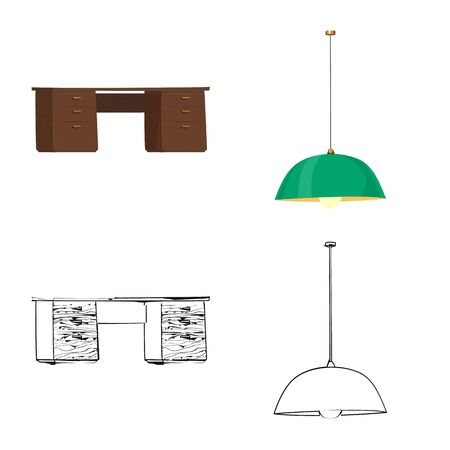 Isolated object of furniture and work icon. Collection of furniture and home stock symbol for web.