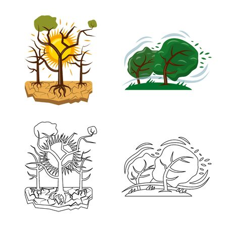 Vector design of natural and disaster symbol. Set of natural and risk stock vector illustration.