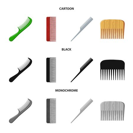 Isolated object of brush and hair sign. Set of brush and hairbrush stock vector illustration.