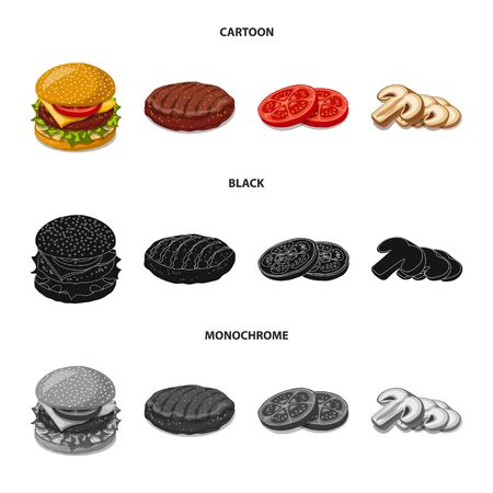 Isolated object of burger and sandwich icon. Collection of burger and slice stock vector illustration.
