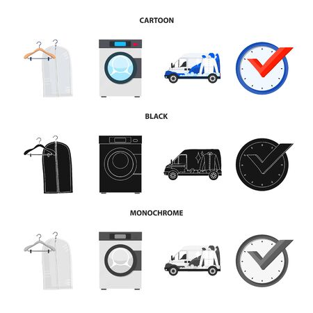 Vector design of laundry and clean logo. Collection of laundry and clothes vector icon for stock.