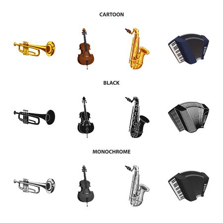 Isolated object of music and tune sign. Set of music and tool vector icon for stock. Çizim