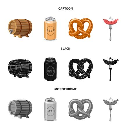 Isolated object of pub and bar icon. Set of pub and interior vector icon for stock. Çizim