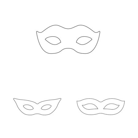 Isolated object of masquerade and mystery logo. Collection of masquerade and festival stock symbol for web. Иллюстрация