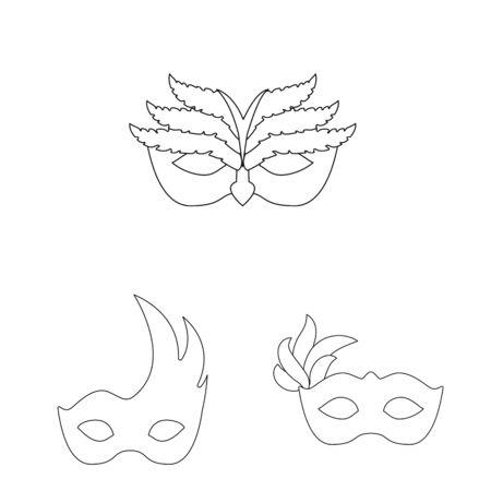 Vector design of masquerade and mystery icon. Set of masquerade and festival stock vector illustration.