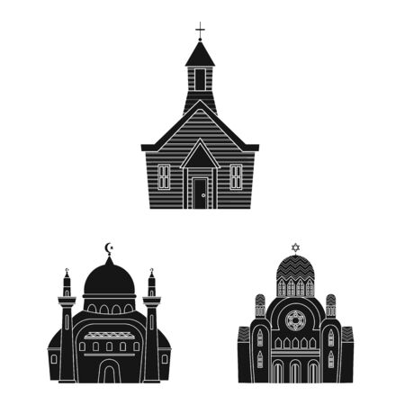 Vector illustration of house and parish icon. Set of house and building stock vector illustration.