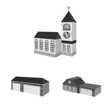 Vector illustration of architecture and estate sign. Collection of architecture and housing stock symbol for web.