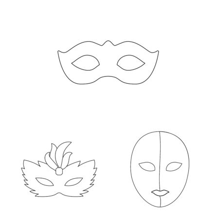 Vector illustration of masquerade and mystery icon. Collection of masquerade and festival stock symbol for web. Çizim