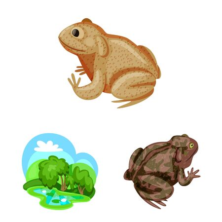 Vector illustration of frog and anuran icon. Set of frog and animal stock symbol for web.