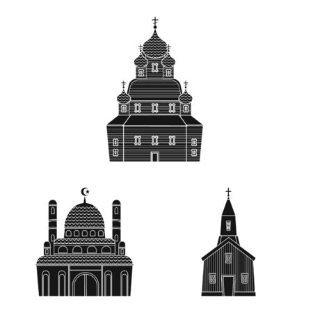 Vector design of house and parish logo. Collection of house and building vector icon for stock. 向量圖像