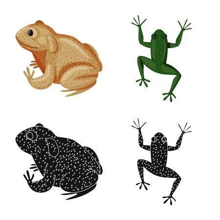 Vector illustration of wildlife and bog logo. Set of wildlife and reptile stock vector illustration.  イラスト・ベクター素材