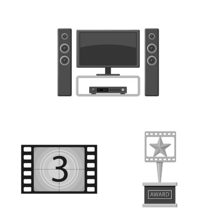 Isolated object of cinematography and studio icon. Set of cinematography and filming stock vector illustration. Stock Illustratie