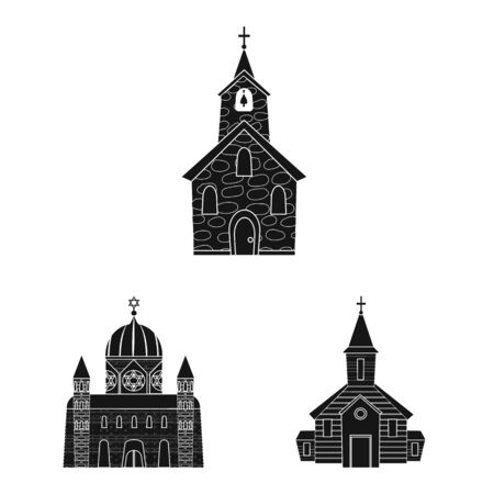 Vector design of house and parish symbol. Collection of house and building vector icon for stock. Ilustração
