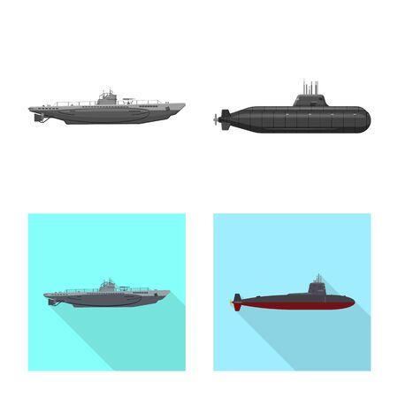 Vector illustration of war and ship logo. Set of war and fleet stock vector illustration. Illusztráció