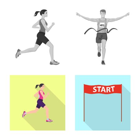Vector illustration of sport and winner logo. Collection of sport and fitness stock symbol for web. 일러스트