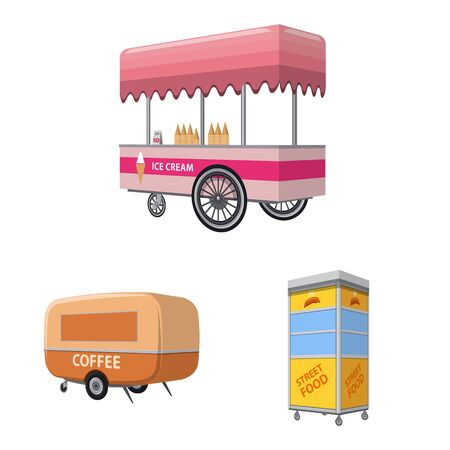 Vector design of booth and kiosk icon. Collection of booth and small stock vector illustration. Standard-Bild - 131839430