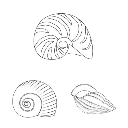 Isolated object of exotic and seafood symbol. Collection of exotic and aquatic vector icon for stock. Фото со стока - 131807301