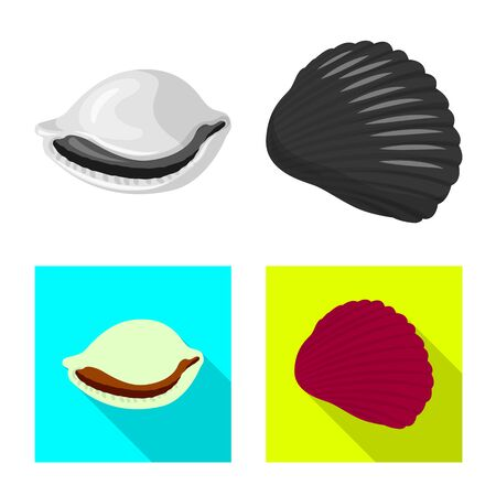 Isolated object of animal and decoration sign. Set of animal and ocean vector icon for stock. Иллюстрация