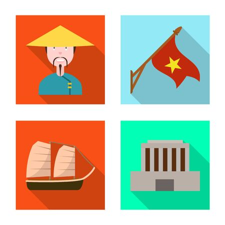 Vector design of vietnam and traditional sign. Set of vietnam and culture stock vector illustration. 向量圖像