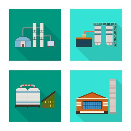 Vector illustration of factory and industry symbol. Set of factory and construction vector icon for stock. Ilustracja