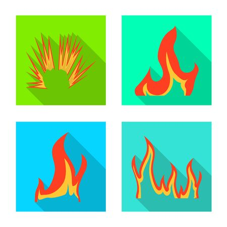 Isolated object of bright and dangerous logo. Set of bright and wildfire stock symbol for web.