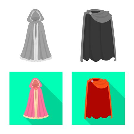 Vector illustration of material and clothing icon. Collection of material and garment stock vector illustration.