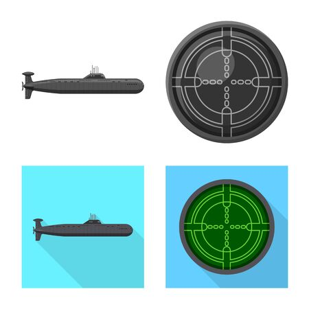 Isolated object of war and ship icon. Set of war and fleet vector icon for stock.