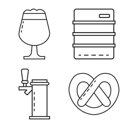 Vector design of craft and pub symbol. Collection of craft and oktoberfest vector icon for stock. Çizim