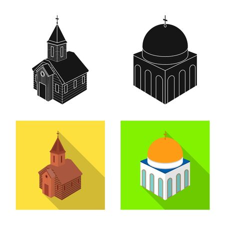 Isolated object of temple and historic icon. Collection of temple and faith stock vector illustration.
