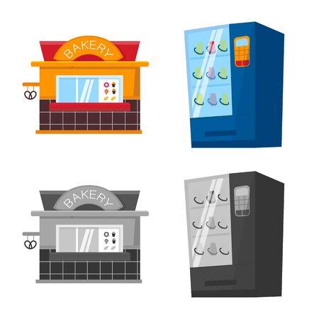 Vector design of amusement and store logo. Set of amusement and urban stock symbol for web. Standard-Bild - 131839869