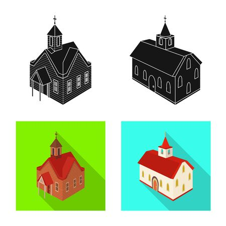 Vector design of temple and historic icon. Set of temple and faith vector icon for stock. Stock Illustratie