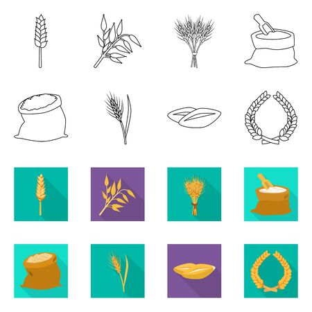 Isolated object of grain and harvest icon. Collection of grain and agriculture stock symbol for web.