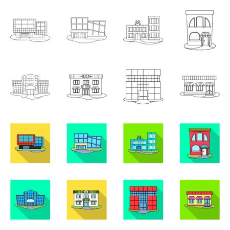 Isolated object of supermarket and building icon. Set of supermarket and local stock symbol for web.