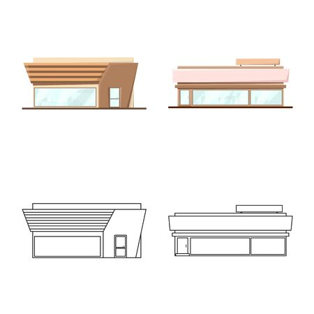 Vector illustration of boutique and construction icon. Collection of boutique and cityscape stock vector illustration.