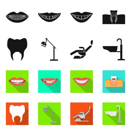 Vector illustration of dentistry and care logo. Collection of dentistry and dental vector icon for stock.