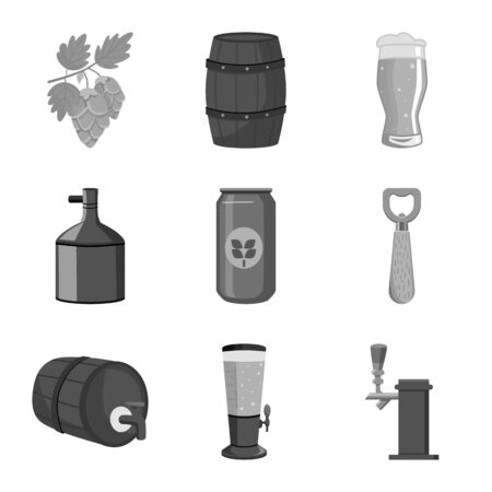 Vector design of restaurant and oktoberfest logo. Collection of restaurant and brewing vector icon for stock.